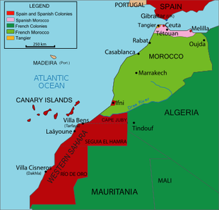 Spanish and french protectorate colonization of morocco this map shows the division of colonized morocco between spain and france the french protectorategreen controlled a larger portion of morocco than the gumiabroncs Choice Image